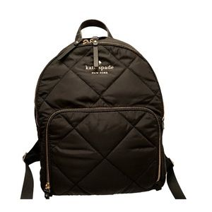 Kate spade black nylon quilted backpack